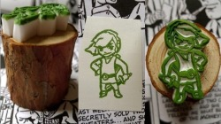 Handcarved Zelda Link Rubber Stamp Mounted on Wood