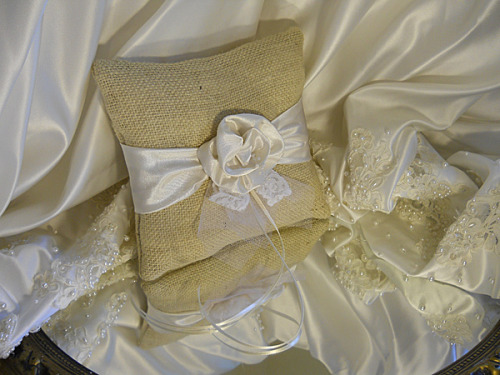 Burlap Ring Bearer Wedding Pillow, handmade of bleached burlap, ivory satin rosette, white lace and tulle.