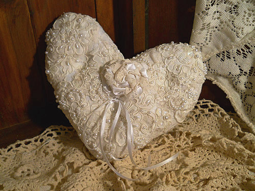 Victorian Heart Shaped Vintage Ring Bearer Wedding Pillow, handmade of vintage fabrics and lace