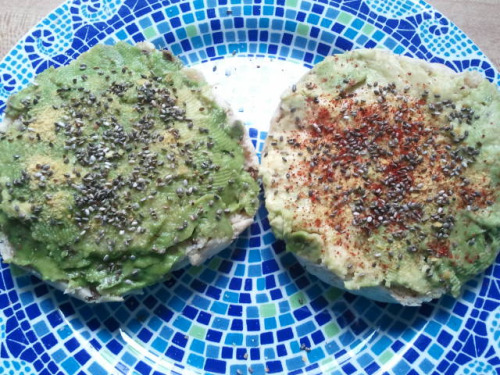 Avocado English Muffins Gluten free multi-seed english muffin 1/4 avocado chia seeds nutritional yeast lemon pepper seasoning (one one half) chili powder (on the other half) 1 serving. Gluten free and vegan.