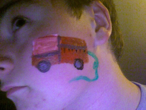 I got my face painted, its a fire truck.