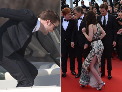 Clumsy Couple Alert! Robert Pattinson and Kristen Stewart BOTH almost fall at Cannes.