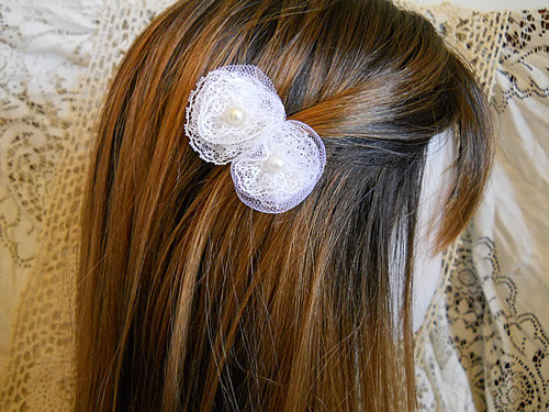 Set of 2 Vintage Flower Bobby Pins, handmade of vintage lace, netting and pearls.
