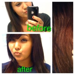 #New #Hair!!!! #red #Burgundy #Bangs #Dye #Before #After  (Taken with instagram)