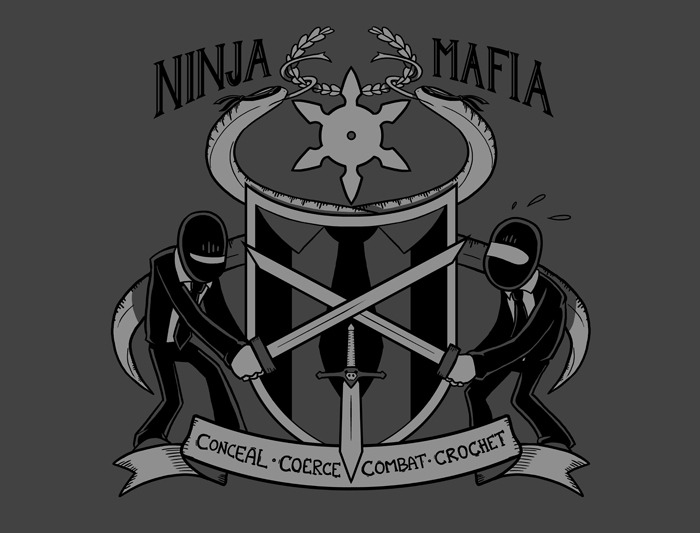 Here's a bit of revision on the Ninja Mafia Coat of Arms to make it shirt-ready! Many said (and I agree) that the sticky note joke might work against the slick & clean look you want a shirt design to have. The other issue is that I wouldn't be able to do the shading on the note, which would maybe hurt the effect. So, I've gone with a subtler joke. I think it works! What do you think? Tweet (samandfuzzy) me your thoughts.