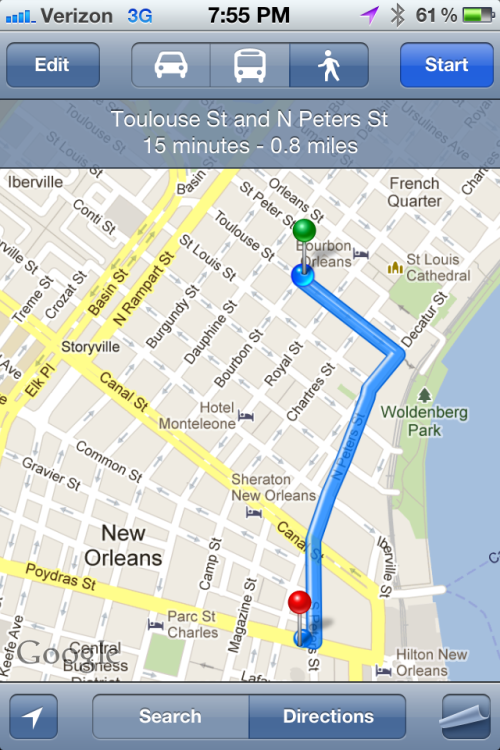 New Orleans Math: Distance to Hotel, .8 miles.  # of Drinks = D,  time to hotel = .8(20m) + D(15) = time to bed/shower/etc.    Actually, as D increases, the pace will decline inversely…   Math is hard.