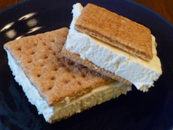 militaryfit-bombshell:  Low Calorie Ice Cream Sandwhich SAY WHAT? Ingredients  Lite Cool Whip  Graham crackers Freeze the Cool Whip container. Break a graham cracker sheet in half. Place a spoonful of frozen Cool Whip on one half. Top with the other half of the cracker sheet. For some fun variety, try strawberry Cool Whip or cinnamon sugar graham crackers. From FITNESSRX