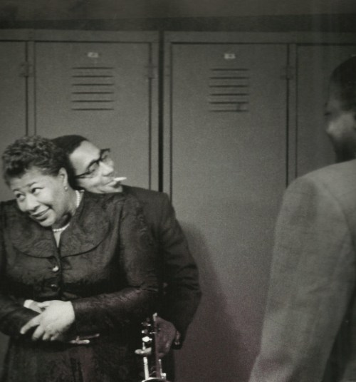 theodorafitzgerald:   Ella Fitzgerald and Dizzy Gillespie, New York 1950; photographed by Herman Leonard.