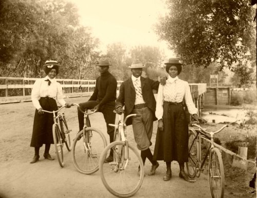 "bike hipsters of the late 19th century lookin' fresh! sorry, i got no more info on this image, except that it may or may not be a still from that documentary, ""Victorian Cycles, Wheels of Change"" which i still haven't seen."