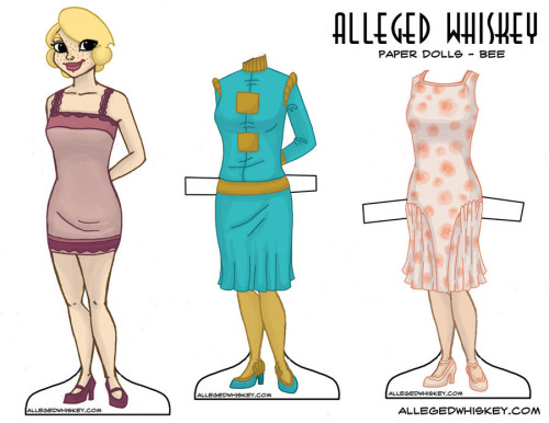 bee paper doll!  for hi-res/printable version: http://allegedwhiskey.com/paperdolls/BEE.pdf
