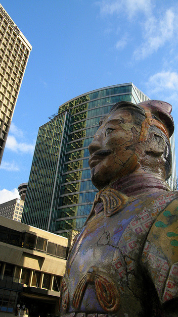 "Public Art: Terracotta Warriors in the City Here's a shot of one of many fibreglass Terracotta Warrior sculptures that have been painted up and started appearing around the city for the summer. Previous years have seen orcas, eagles and ""spirit bears"" serve as templates for artistic expression, some better than others. The concept began in Zurich, Switzerland in 1998 and has since spread to cities around the world. In the fall, the sculptures will be auctioned off in a fundraiser for charity. You can read more info on this year's crop here."