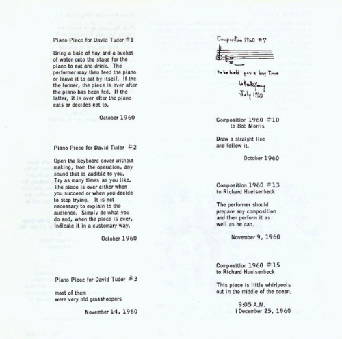 from La Monte Young, Compositions, 1960/63. via georgemaciunas.com