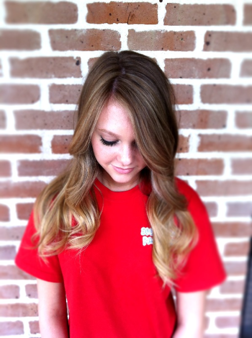 Love this natural ombré color on Katie! Great way to add color and brighten up for summer without full commitment highlights!