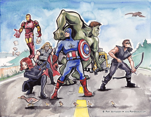 Make sure to watch the time lapse video here: http://bit.ly/JJCQZa Avengers Fan Art! by ~MaryDoodles