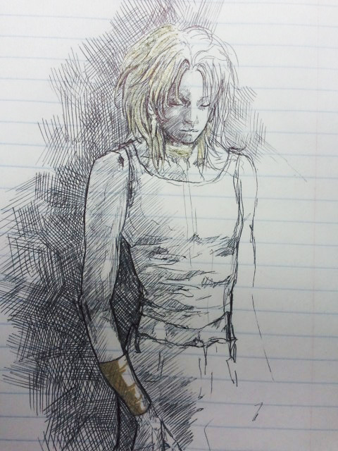 amarantines:  Work doodle from yesterday in ballpoint pen and Martha Stewart gold pen >.>…
