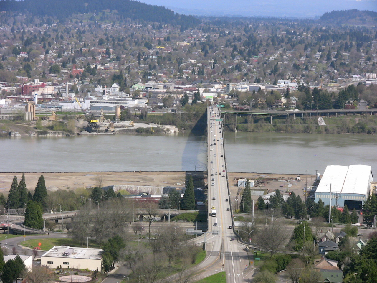 View directly across the Ross Island Bridge from the West Hills.