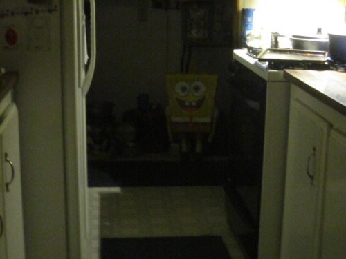 I walked into the kitchen and lost my appetite for some reason. You walk into the kitchen. There's nobody home, and the lights are dim. Out of the corner of your eye you spot him Spongebob Squarepants