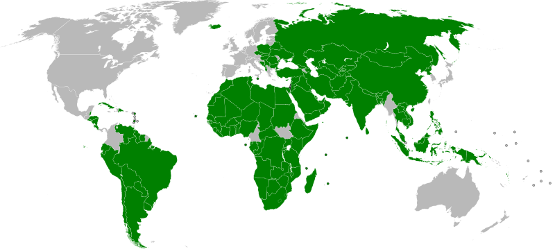 Map of Countries which officially recognize the State(Country) of Palestine.  I bet the list is shrinking though
