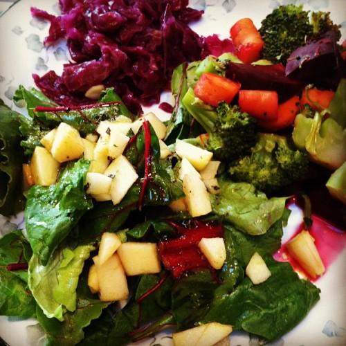 Delicious fresh spinach, chard, and beet leaf salad with ACV, olive oil, herbs, and 2 drops lemongrass essential oil for the dressing! Steamed veggies and sauerkraut… Ahh I feel amazing!