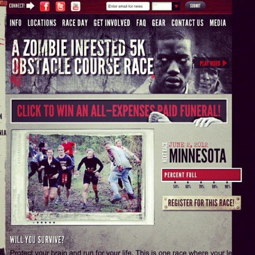 I just registered for my first Zombie 5k marathon! Holla!  (Taken with instagram)