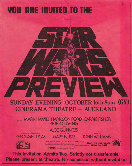 New Zealand Star Wars preview screening, 1977. http://swnz.dr-maul.com/moretext.php?request=Newspapers