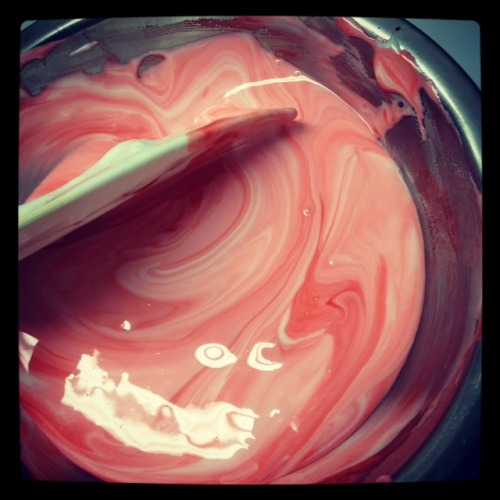 look at this picture of royal icing I was making red! look at the great swirly color! if you can't see that this is magic you're a giant idiot. I didn't mean that, I'm really sorry I just want you to believe in magic because that's what's going on here.  MAGIC Brang-Dang^_^