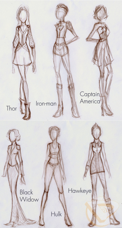 Something I sketched up a few weeks ago. Avengers inspired Fashion, colored version coming soon or eventually…
