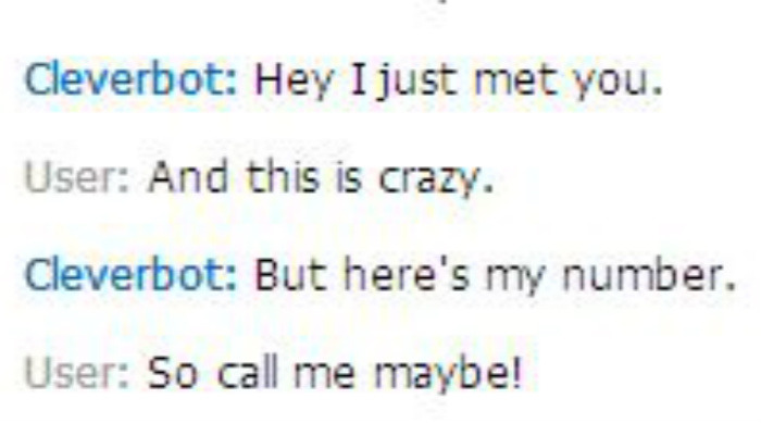 lol cleverbot was singing to me :D