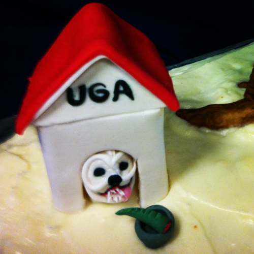 UGA Bulldog in a doggy house (made out of fondant), it was a decor on a grooms cake!