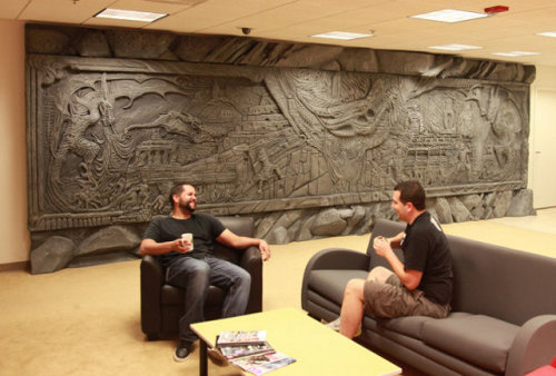 videogamenostalgia:  Life-Size Reproduction of Alduin's Wall in Bethesda's Offices Now, here's something cool. Alduin's Wall from Skyrim recreated and can be found at Bethesda. For more photos, click here.  I want this in my Castle!
