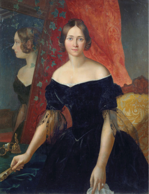 "Portrait of a Woman by Apollon Mokritsky, 1841, Kaluga Art Museum EDIT: Had to include this response by there-is-no-box because I thought it was great. I almost scrolled past this, but something about it caught me off guard. I think it's her eyes. They're looking straight at you and they're not coy or modest or deferential. She's looking straight at you; you, personally. And she looks like she's thinking about something, something other than ""here you may gaze at my beauty."" She just seems so active when women are so often portrayed as passive"