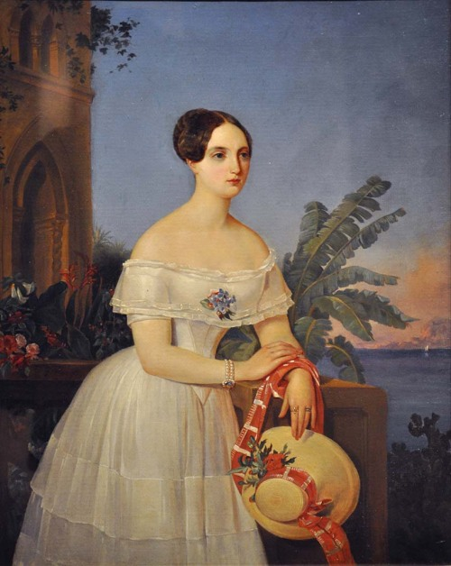 Portrait of a Woman by Alexey Tyranov, 1841 Russia, the Kursk Gallery