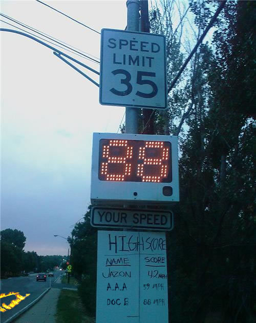 In a speed competition, Doc Brown's 88 MPH with time travel in a 35 mph zone is going to be tough to beat. Flaming tire tracks FTW! [via Nerd Approved]
