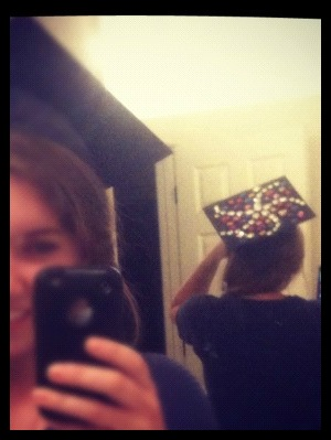 My graduation cap. It won't stay on but it sure is glitzy :)