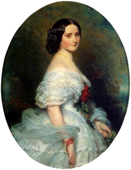 Anna Dollfus, Baronness de Bourgoing by Franz Xaver Winterhalter, 1855 France Winterhalter did a lot of portraits like this one, but he was good at them.  Why fix what ain't broke?