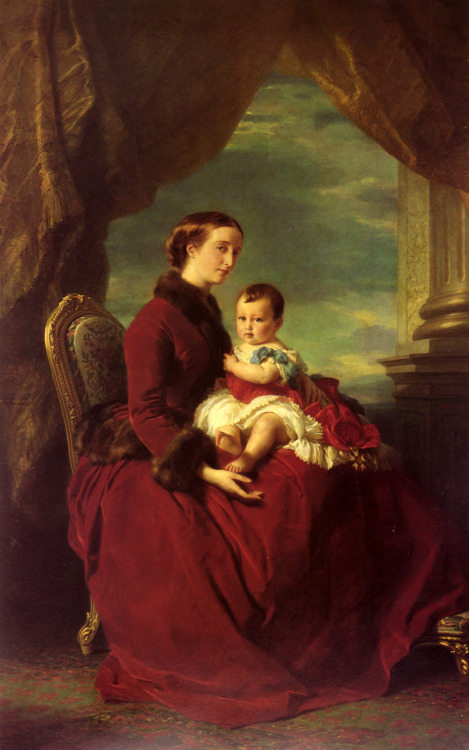 oldrags:  The Empress Eugenie Holding Louis Napoleon, the Prince Imperial on her Knees by Franz Xaver Winterhalter, 1857 France  ART in Westeros Joanna Lannister with his son Jaime