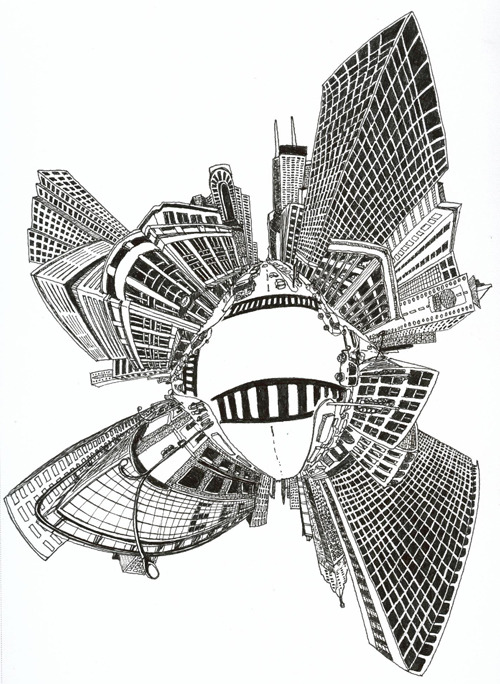 Stereographic Chicago. Referenced from here.