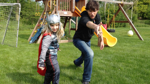 Here I am…teaching THOR how to throw a hammer. What a baby!