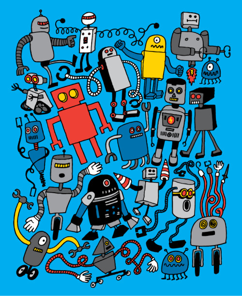 laughingsquid:  ROBOTS! by Chris Piascik