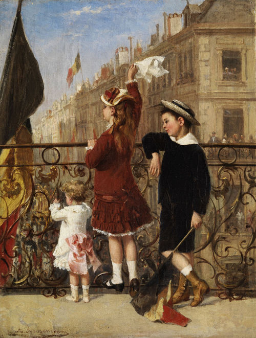 Waving to the Procession, Paris by Albert Roosenboom, ca 1880 Brussels, private collection It was sold by Christie's in 2008. Click for a massive image