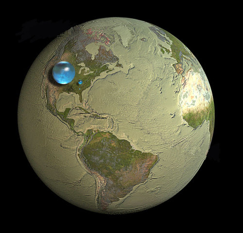 "Thinking Globally: 'How Much Water is on Earth' From The US Geological Survey:  The largest sphere represents all of Earth's water, and its diameter is about 860 miles (the distance from Salt Lake City, Utah, to Topeka, Kansas). It would have a volume of about 332,500,000 cubic miles (mi3) (1,386,000,000 cubic kilometers (km3)). The sphere includes all the water in the oceans, ice caps, lakes, and rivers, as well as groundwater, atmospheric water, and even the water in you, your dog, and your tomato plant. … The blue sphere over Kentucky represents the world's liquid fresh water (groundwater, lakes, swamp water, and rivers). The volume comes to about 2,551,100 mi3 (10,633,450 km3), of which 99 percent is groundwater, much of which is not accessible to humans. The diameter of this sphere is about 169.5 miles (272.8 kilometers). … Do you notice that ""tiny"" bubble over Atlanta, Georgia? That one represents fresh water in all the lakes and rivers on the planet, and most of the water people and life of earth need every day comes from these surface-water sources. The volume of this sphere is about 22,339 mi3 (93,113 km3). The diameter of this sphere is about 34.9 miles (56.2 kilometers). Yes, Lake Michigan looks way bigger than this sphere, but you have to try to imagine a bubble almost 35 miles high—whereas the average depth of Lake Michigan is less than 300 feet (91 meters).  You can read more info and the methodology used to calculate the size of our global water supply here.  (Photo source: US Geological Survey)"