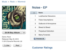 earache:  WORMROT Noise EP now with bonus Eisley cover $4.99 on iTunes