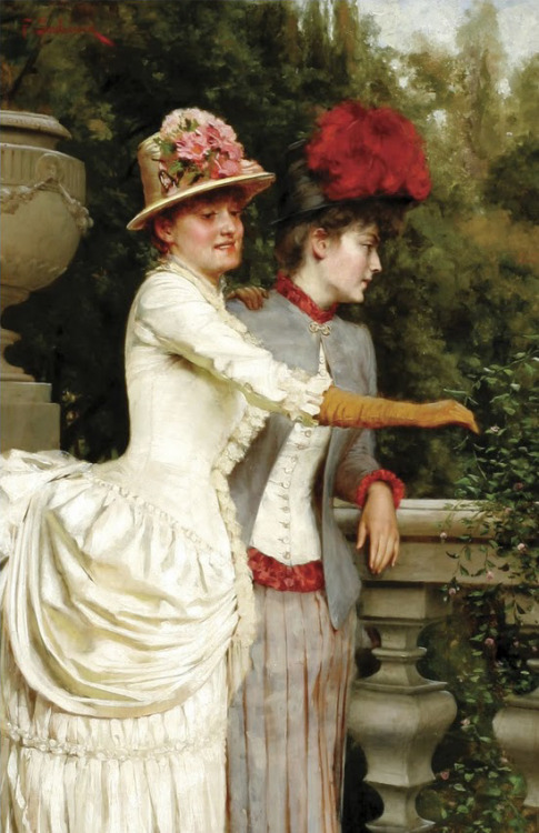 Women on a Balcony by Frederic Soulacroix, mid-1880's, private collection (UK)