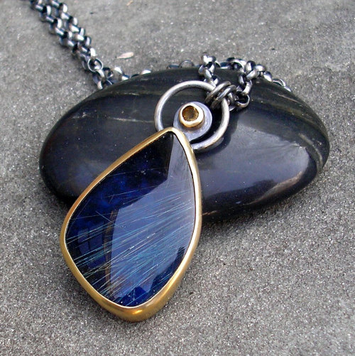 Lapis Gold Necklace. Rutilated Blue Lapis Lazuli with 18 KT Yellow Gold, Yellow Citrine, and Sterling Silver. by lsueszabo