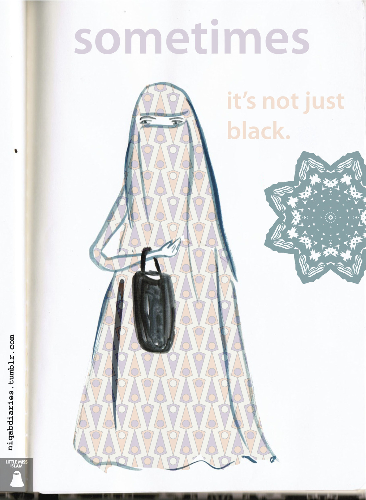 outburstm:  Sometimes its not just black, this Niqabi Diaries blog is so beautiful #niqab #illustration