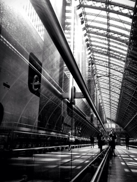 London's St. Pancras Station early in the morning on a rare day of brilliant sunshine. It really lit up the old space and cheered my travel-weary soul. ['twas my last mode of transport in over 30 hours of travel from Mauritius to the UK.] posted to EyeEm