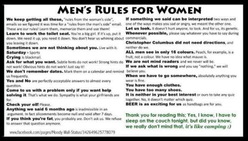 sweet-formality:  Men's Rules for Women.