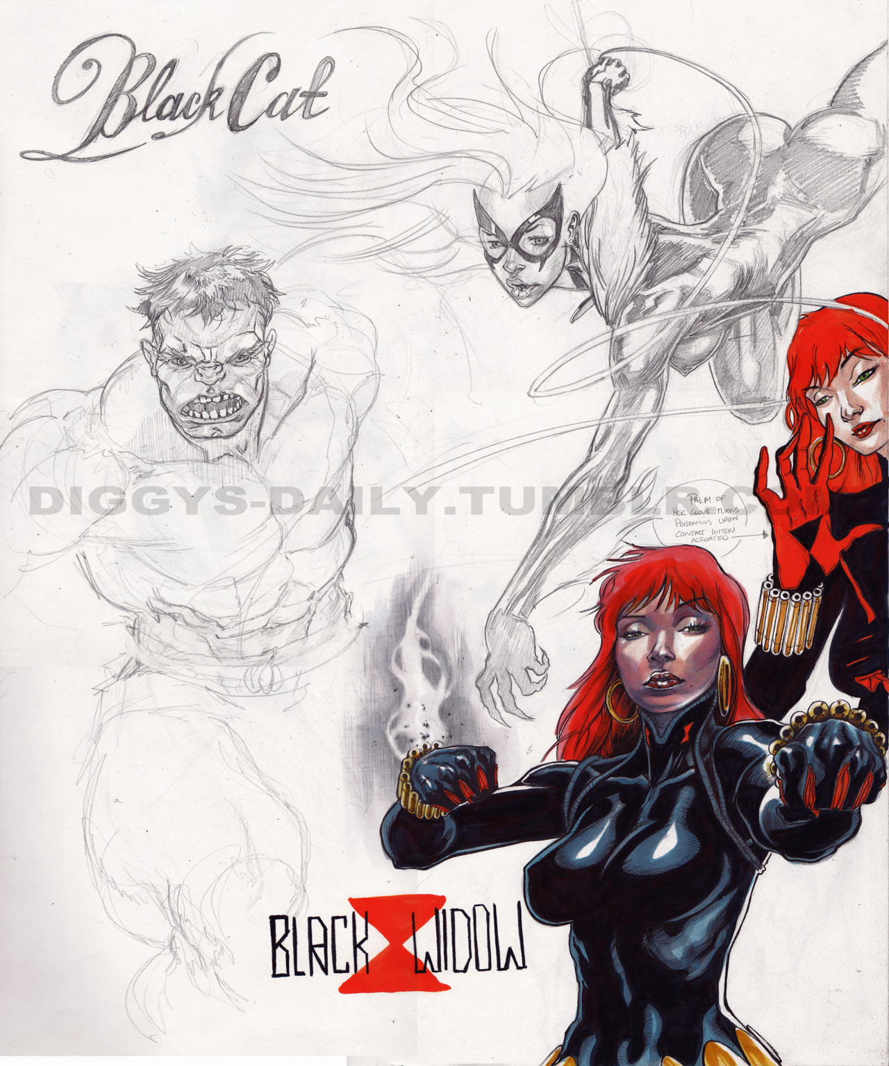 SKETCH OF THE DAY: BLACK WIDOW & BLACK CAT