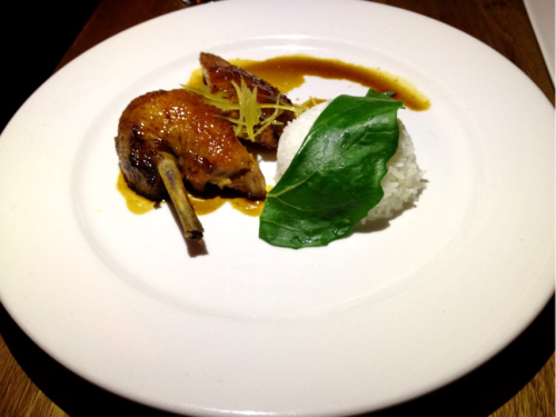 Plum sauce glazed roast duck @ Seamstress - with candied lemon zest, orange jus and jasmine rice.