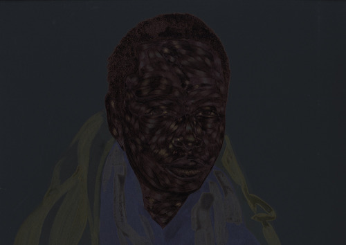 Toyin Odutola: Self Portrait, after Najva Sol (Brooklyn, NY.), 2012  Pen ink and acrylic ink on black board. 20 x 15 inches. This is based on a portrait taken by my girl, Najva, while I was in visiting NYC in March. I loved the portrait so much I decided to render it.
